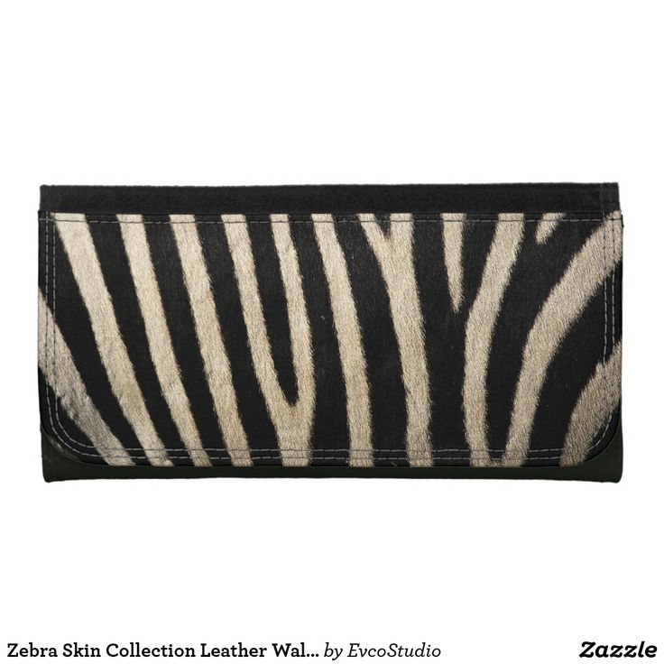 Zebra Skin Collection Leather Wallet Purse - Large