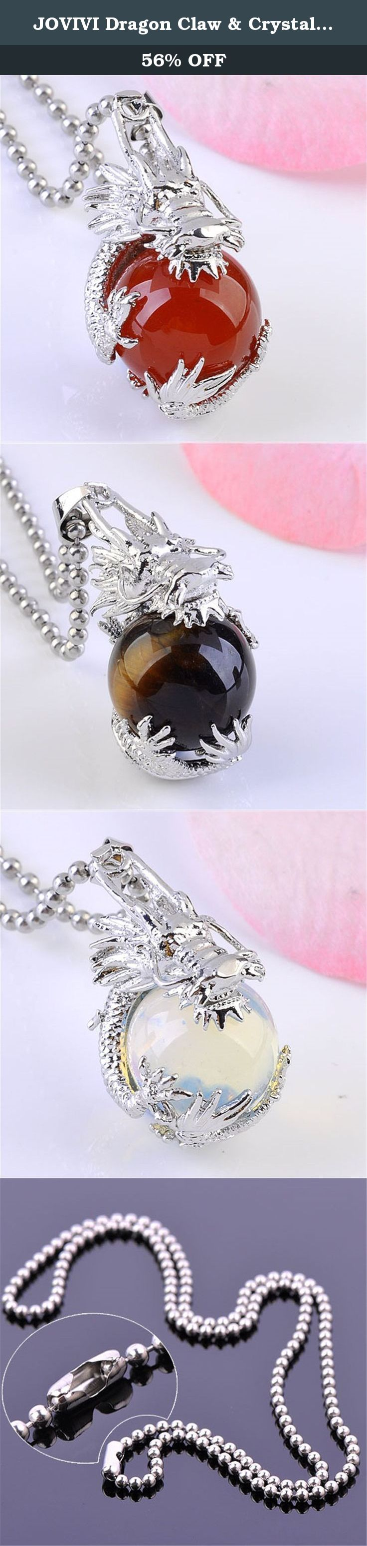 JOVIVI Dragon Claw & Crystal Ball Pendant Chain Necklace (Tiger Eye&Opalite&Red Agate). weight:14g Pakcage Content: 3 x Dragon Ball Beads Pendant 3x Stainless Steel Ball Chain Necklace 1x Black Velvet Gift Bag *Thank you for visiting Jovivi Store. We are specializing in jewelry making beads and findings. *If you like this product, we advise you add it to wish list now, so that we will inform you immediately once it has a discount. *And you can click our brand name which on the top of the...