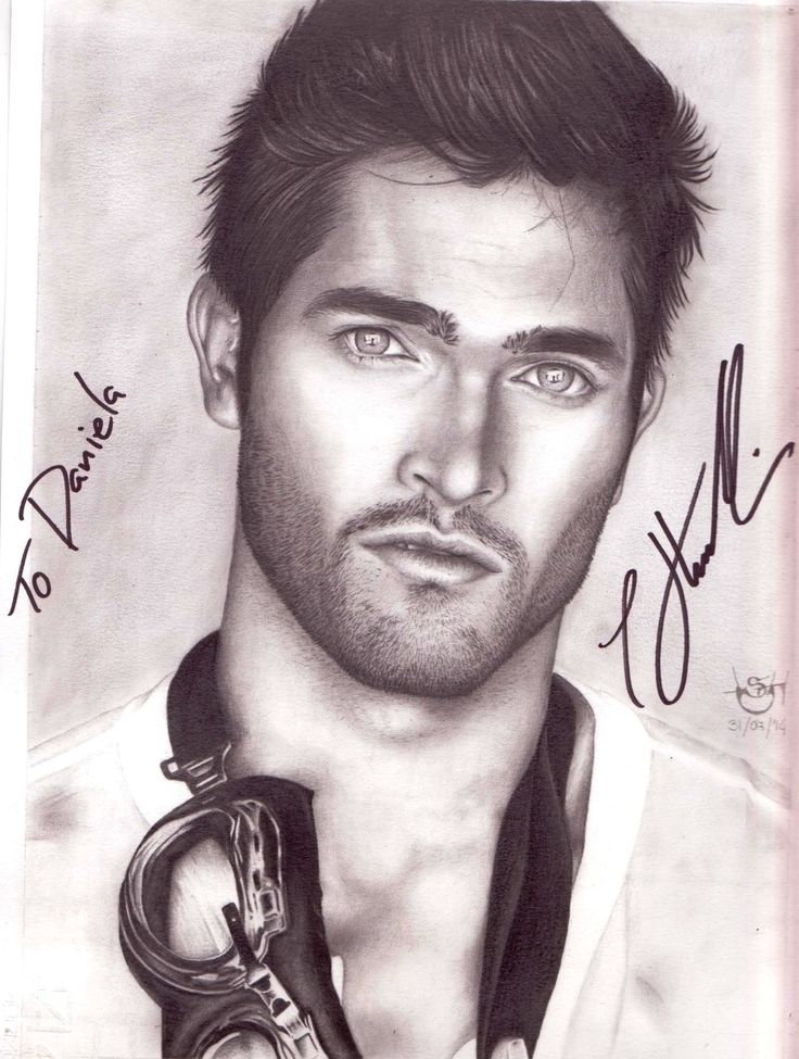 "Drawing actor Tyler Hoechlin, star of TV Series ""Teen Wolf"" (Derek Hale). Autographed by actor at Nemeton Itacon 2015."