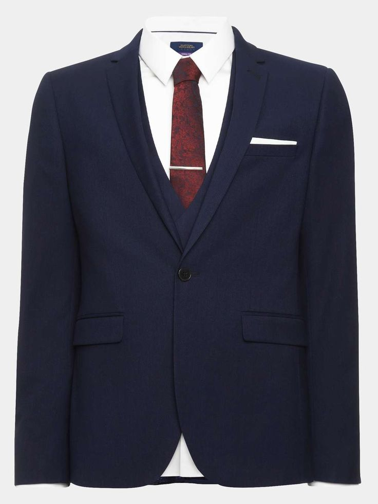 3 Piece Skinny Fit City Blue Textured Suit