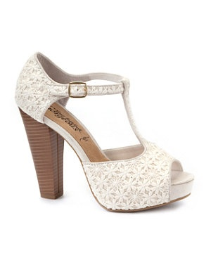 Winter White (Cream) Cream Crochet T-Bar Heeled Sandals | 280510412 | New Look