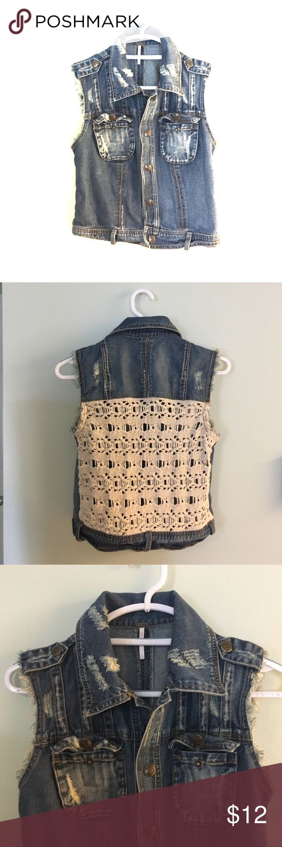 Free people Sleeveless Jean jacket Free People Jean jacket with crocheted back Free People Jackets & Coats Jean Jackets