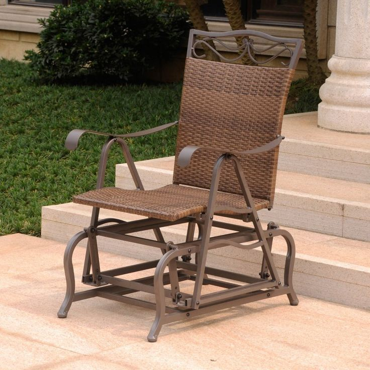 International Caravan Valencia Wicker Outdoor Glider Chair   4103 SGL