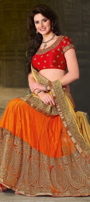 132673, Mehendi & Sangeet Lehenga, Net, Satin, Machine Embroidery, Sequence, Zari, Thread, Lace, Orange Color Family