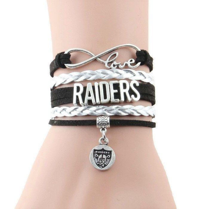 Infinity Love Oakland Football Bracelet Raiders Team Bracelet by GlamInfinity on Etsy