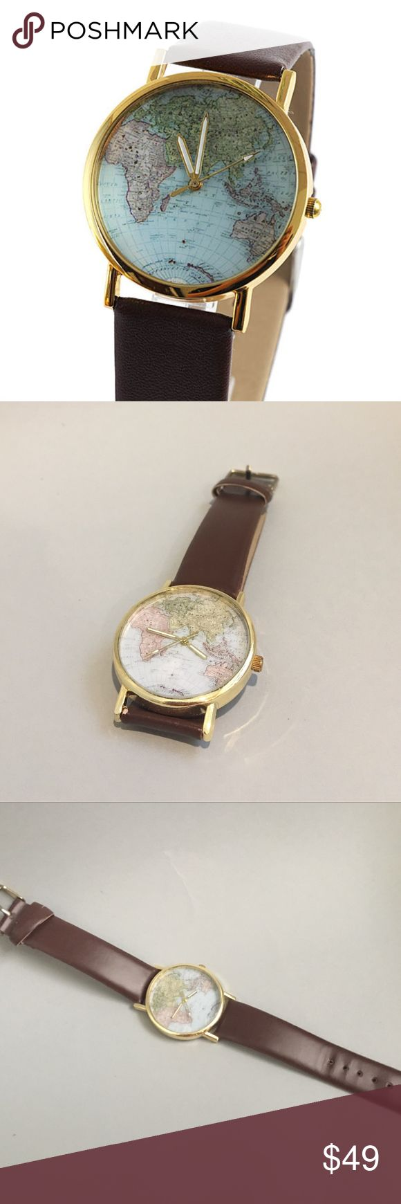 Wander Lust Leather Globe Watch - Brown THE WANDERLUST Around The World Leather Globe Watch - Brown Never used! Great gift for the world traveler :) Accessories Watches
