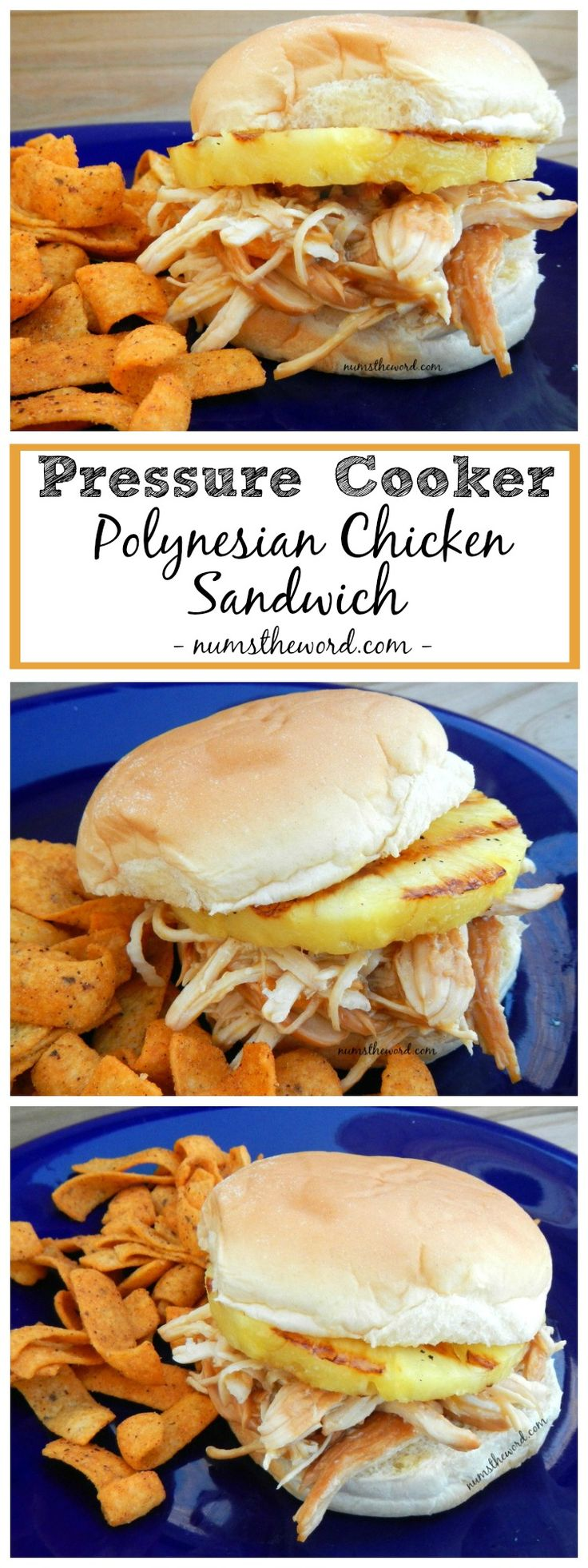 Pressure Cooker Polynesian Chicken Sandwich made with an Instant Pot and ready in 20 minutes.  Tropical Flavors make a delicious dinner!