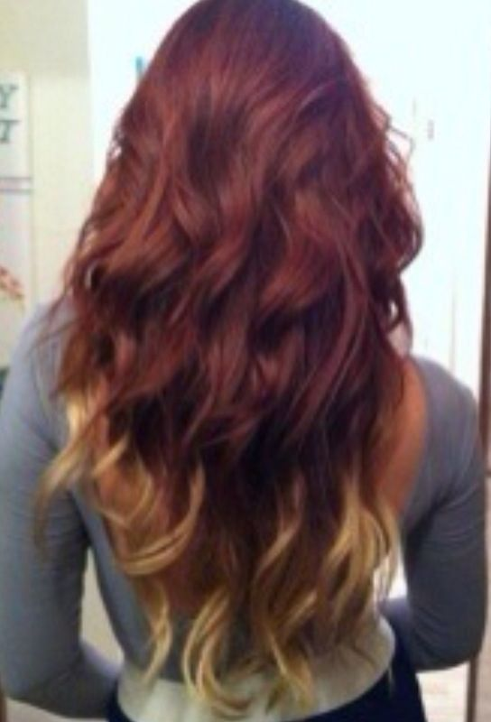 brown red blond hair dip dye hair pinterest chang