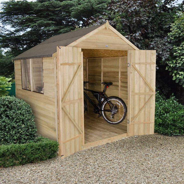 Forest Garden 7 x 7 Treated Double Door Overlap Apex Garden Shed | Internet Gardener