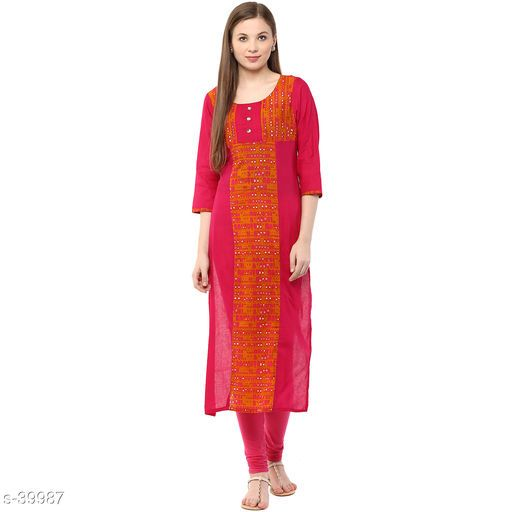 Daily Wear Sizes S to XXL Office wear Indian Cotton Kurti with Sequins and Thread Work Embroidery for Women for Casual Wear 38 to 46