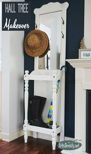 Farmhouse style Antique white Vintage hall tree Umbrella stand painted makeover before and after DIY furniture