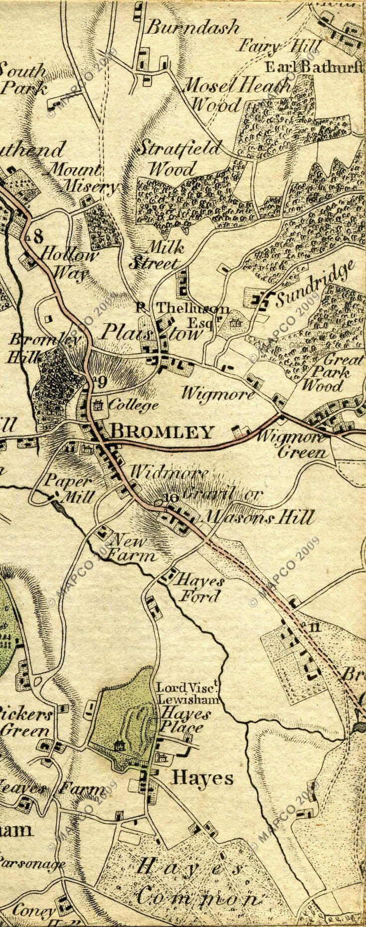 1789 map of Hayes, Kent. Pitt was born and grew up at Hayes Place.