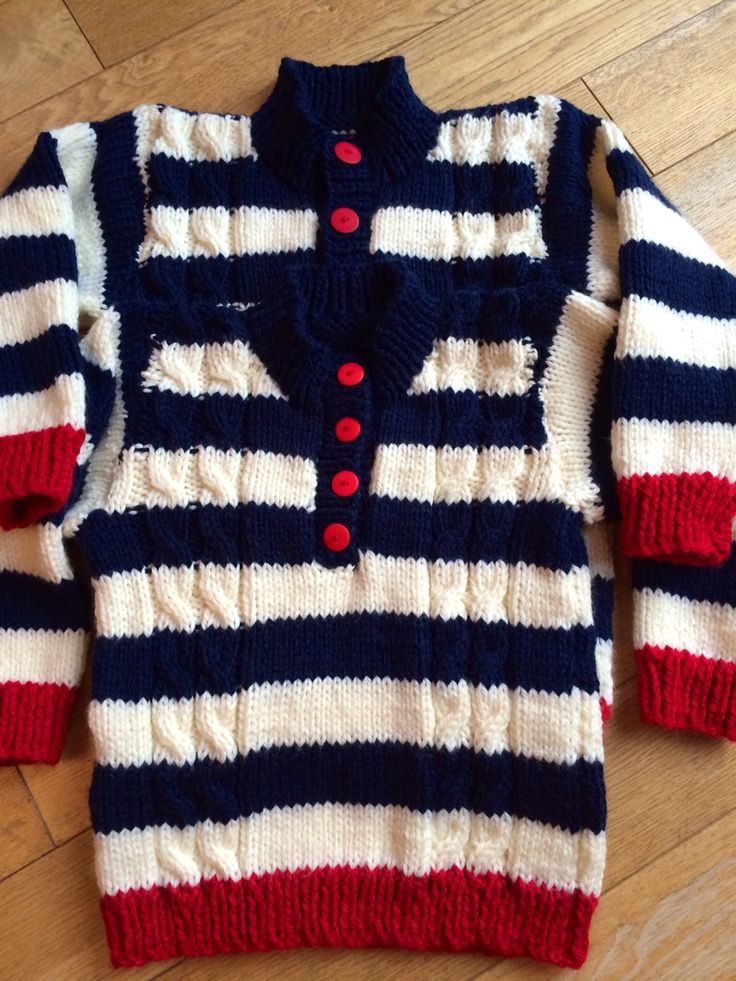 Matching stripey knits for two little boys!