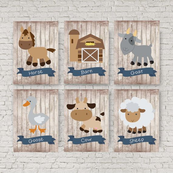 Farm animal nursery decor, Blue and grey nursery, Sheep picture, Baby animals…