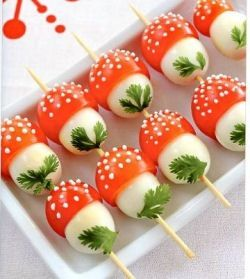 Cute party food - the green herb just finishes off the toadstools here!