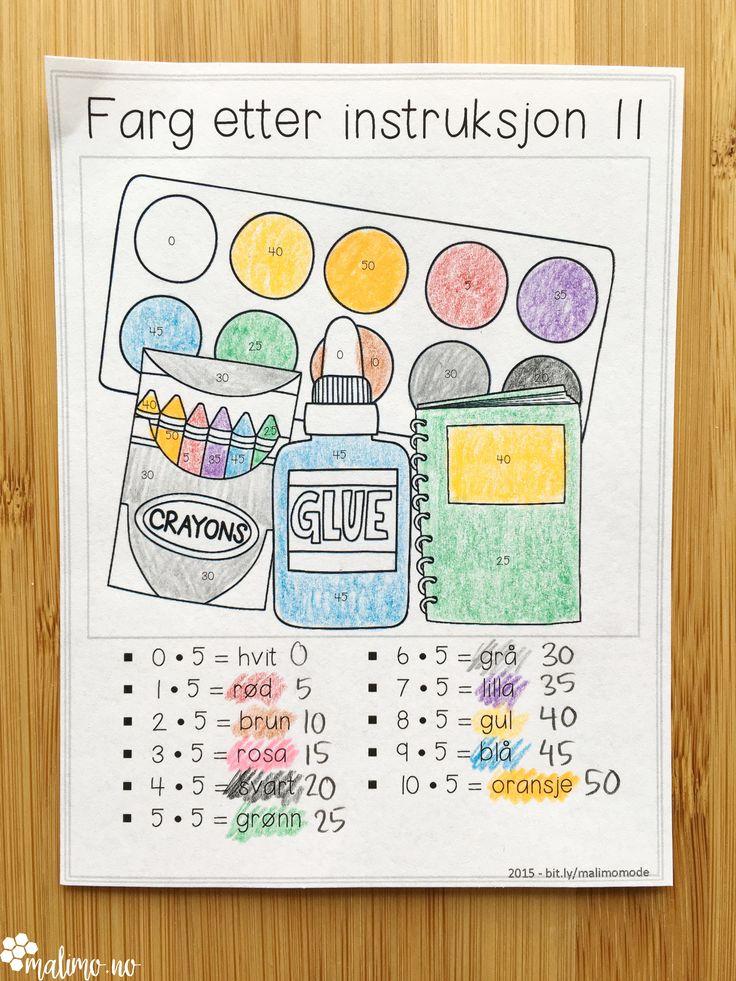 Kombiner ventearbeid med repetisjon eller læring av multiplikasjonstabellene! Kjekke fargeleggingsoppgaver