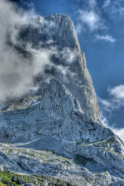 Picu Urriellu (o Naranjo de Bulnes) Asturias by josepmvert, via Flickr. Where I lived in Asturias, near the village of Corao, I could see this peak in the distance from my balcony window. Yes, it was very romantic.