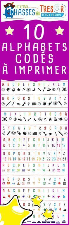 Alphabets codés pour enfant. Ecrire des message secret et préparer une chasse au trésor, un jeu de piste ou une enquête !