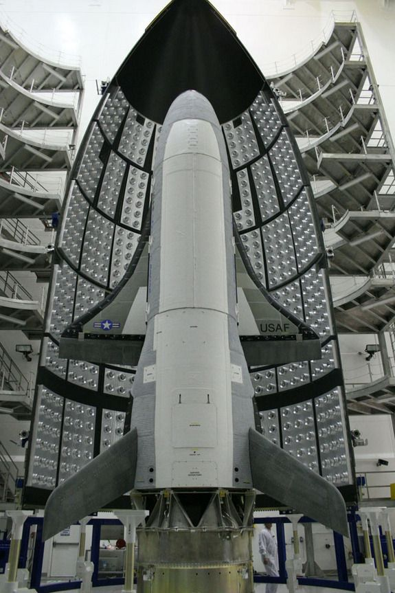 All Stacked UpCredit: USAFThe U.S. Air Force's X-37B space plane prototype, called the Orbital Test Vehicle 1, is primed for its debut launch into space in April 2010.  space.com