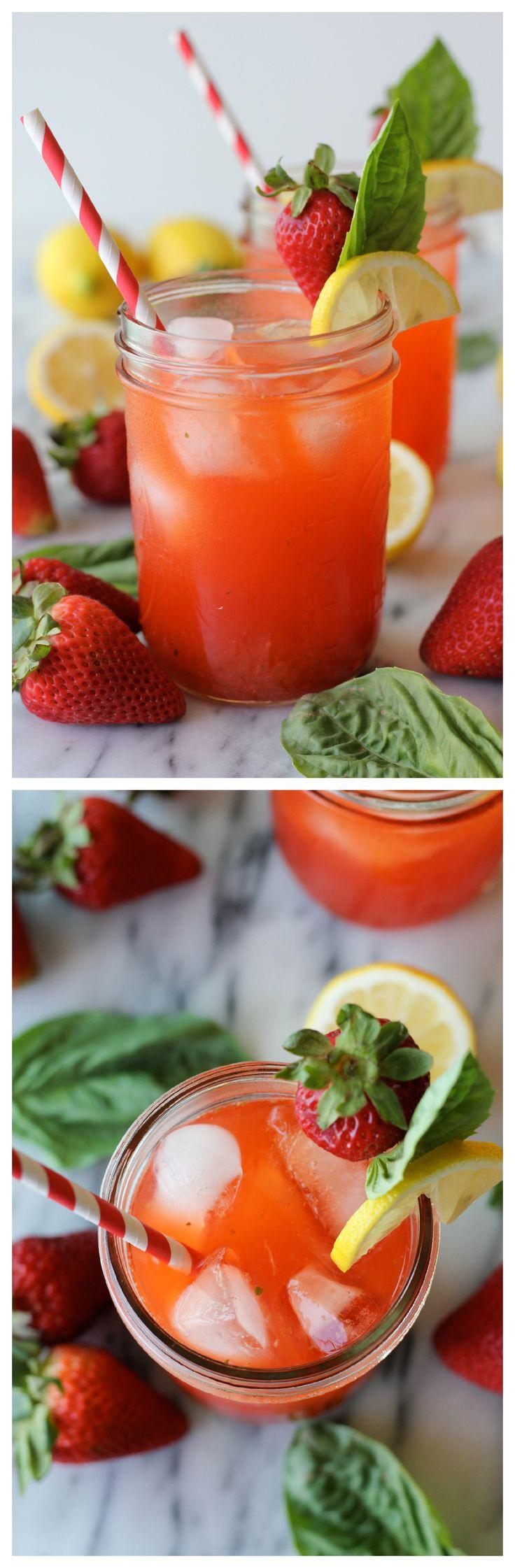 ... Lemonade, Drinks Cocktails, Basil Lemonade, Strawberries Lemonade, Yum