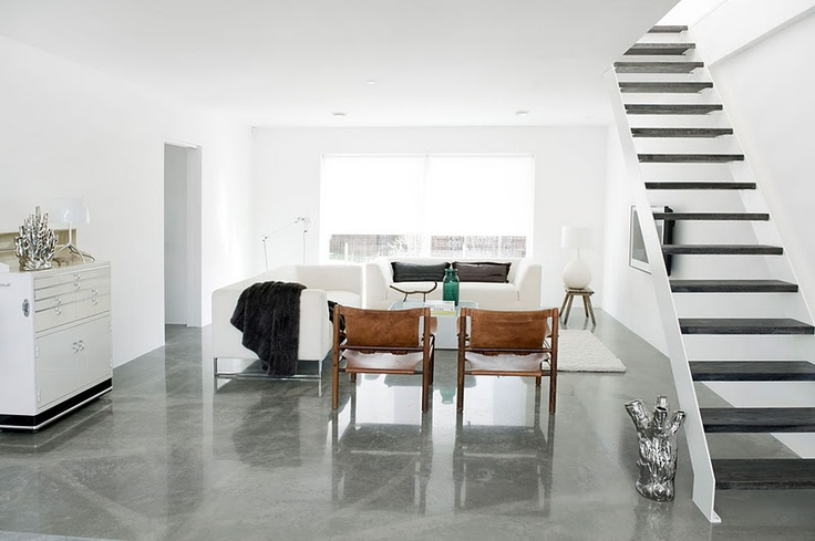 polished concrete living space