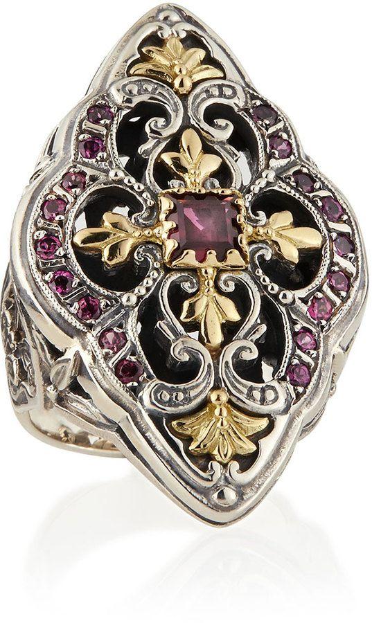 Konstantino Silver & 18k Gold Rhodolite Marquise Flower Ring