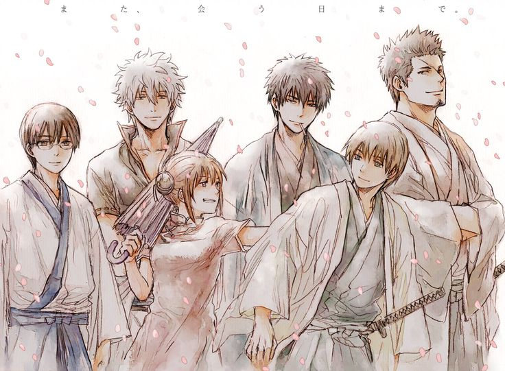 Simura Shinpachi, Sakata Gintoki, Kagura, Okita Sougo, Hijikata Toushirou & Kondo Isao