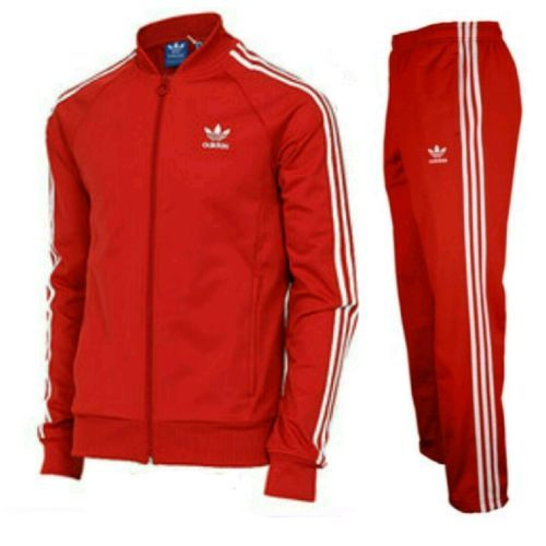 LARGE adidas Originals Superstar Track Pants \u0026 Track Top Collegiate Red  LAST 1