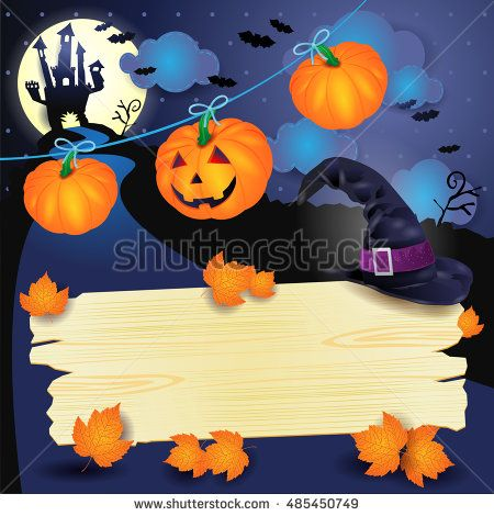 Nuova #illustrazione #vettoriale online! :) New #vector online! #halloween #night #pumpkin #hat #witch #sign #template http://www.shutterstock.com/pic.mhtml?id=485450749
