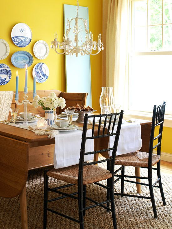 mustard yellow, white, natural wood and blue. Idea for Kats kitchen
