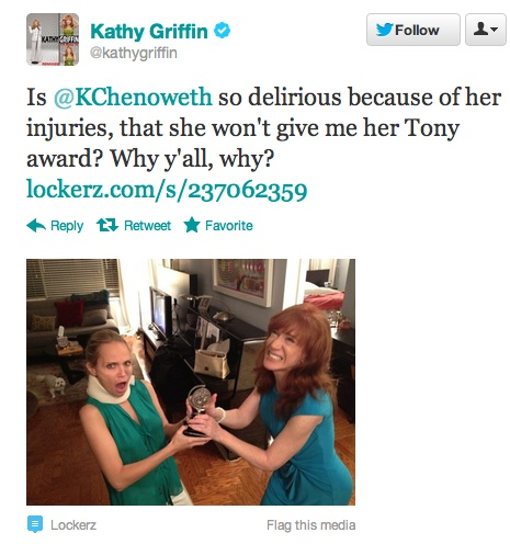 Kathy Griffin tries to steal a Tony award