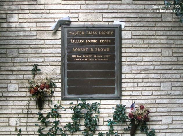 Grave marker for Walt Disney; Lillian (Mrs. Walt) Disney; Robert Brown (First husband of Walt's widowed daughter, Sharon Disney Brown); Sharon Disney Brown Lund.