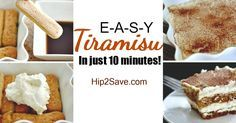 YUM! Whip up this Easy 10 Minute Tiramisu No-Bake Dessert! I used 24 lady fingers (soak in coffee 3 seconds), the mascarpone substitute, Kahlua in place of brandy