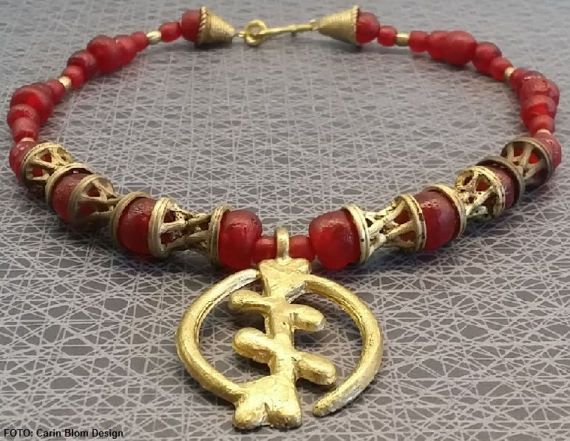GYE NYAME African tribal repurposed vintage red by CBlomsDesign