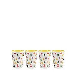 At home with Ashley Thomas - Set of 4 yellow spot print melamine tumblers
