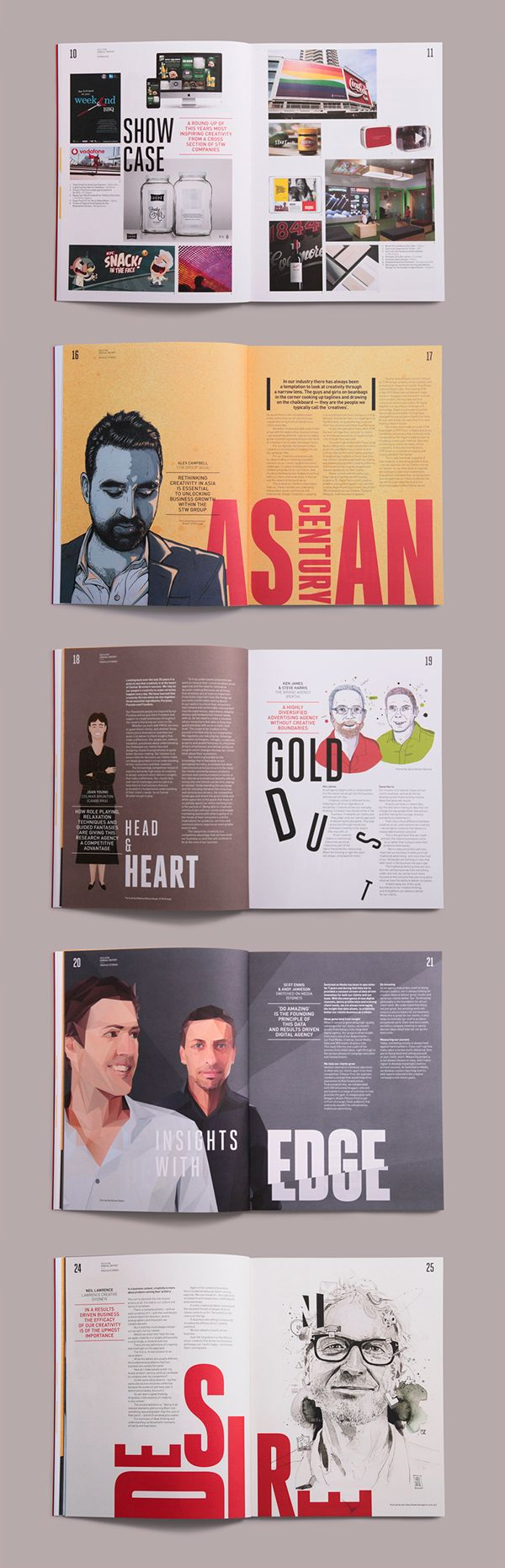 STW Group | Annual Report & Event on Behance. Great layout, striking colour and bold text.