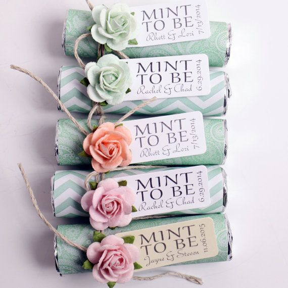 Mint wedding favors - buy mints and wrap with chevron paper, add accessories and phrase. I've ordered the stickers 'mint to be' to match the confetti bags