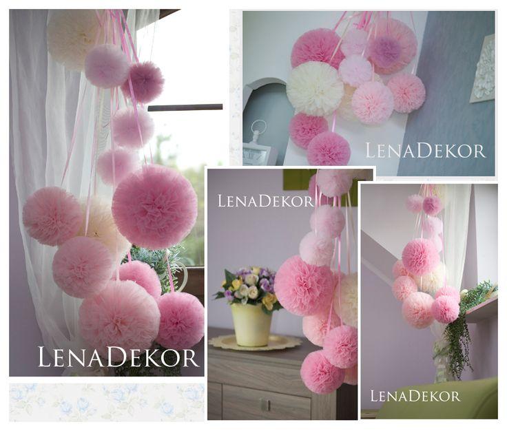 Pompony różowe w pokoju dladziewczynki - LenaDekor.pl