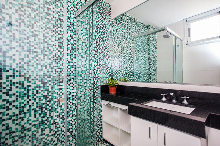Muebles Para Baño Bahia Blanca: de granito negro y mueble de melamina blanca Espejo de punta a punta