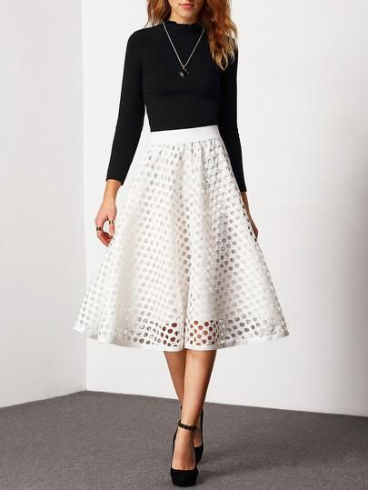 High waist white skirt. Trendy holes cut out white skirt perfect with a pair of black high heels. Waist Size(cm) :64-88cm Size Available :one-size Length(cm) :71cm Fabric :Fabric has no stretch Season