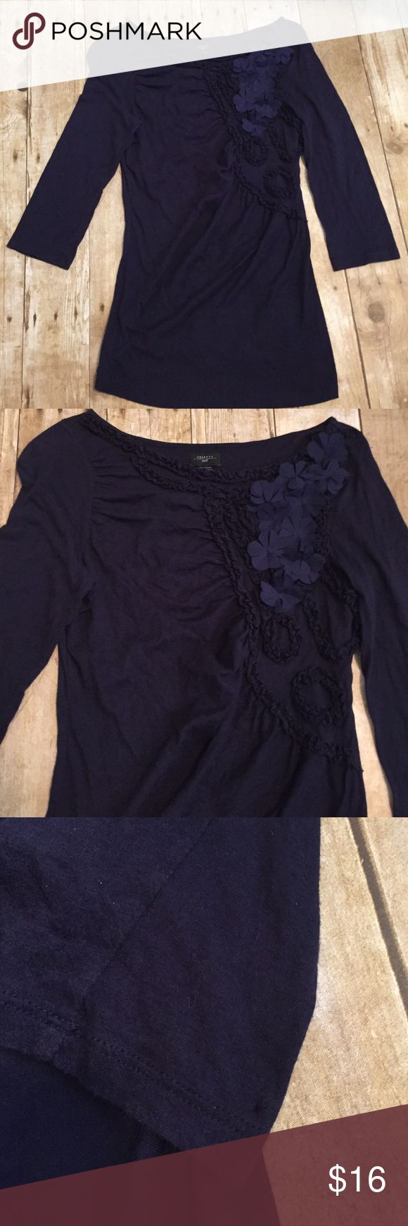 Anthropologie sz small deletta top Navy top with flowers small pin poles from where the tag was located on the sleeve.  Otherwise good condition. Anthropologie Tops Blouses