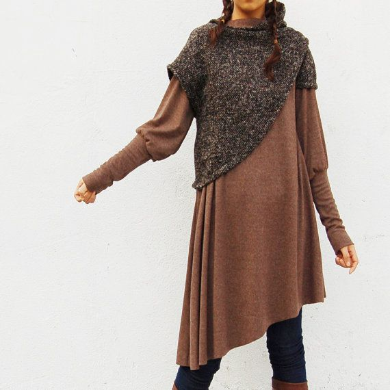 This would be a fun sweater to make...maybe from an old extra large dress and a sweater?