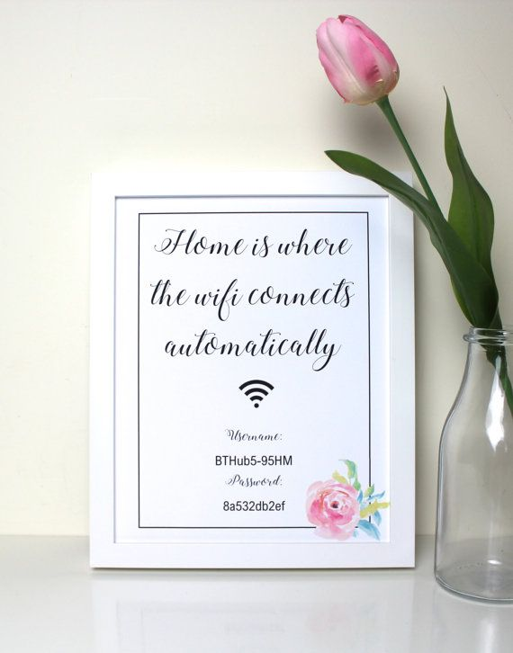 Wifi Password Print in Frame // Home is Where the Wifi Connects Automatically // Personalised Wifi code print // Welcome our wifi code is //