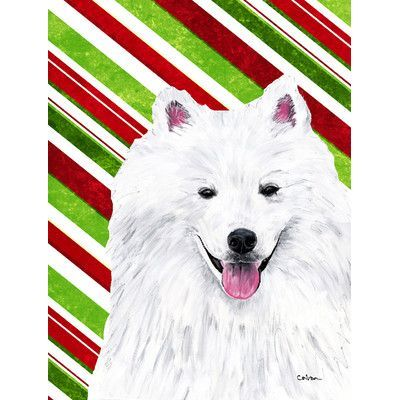 Caroline's Treasures American Eskimo Candy Cane Holiday Christmas 2-Sided Garden Flag