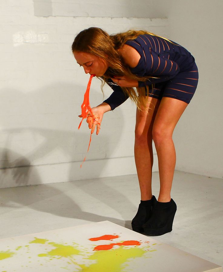 There's An Artist Who Drinks Colored Milk And Throws It Up All Over Canvases