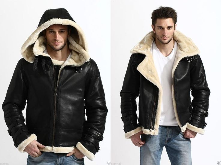B3 Bomber Genuine Shearling Leather Jacket with hood now in our store…