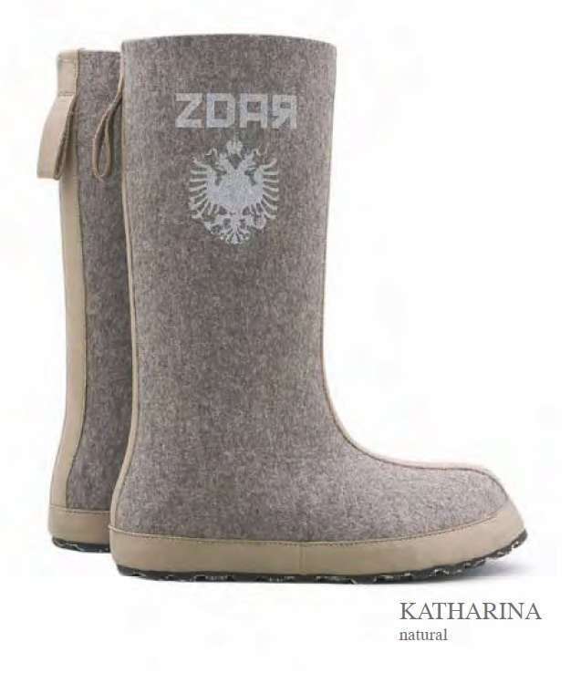 ZDAR Katharina  - 100% wool felt,  calf leather, 'cushion comfort' insole covered with calf leather, sole material: rubber, hemp
