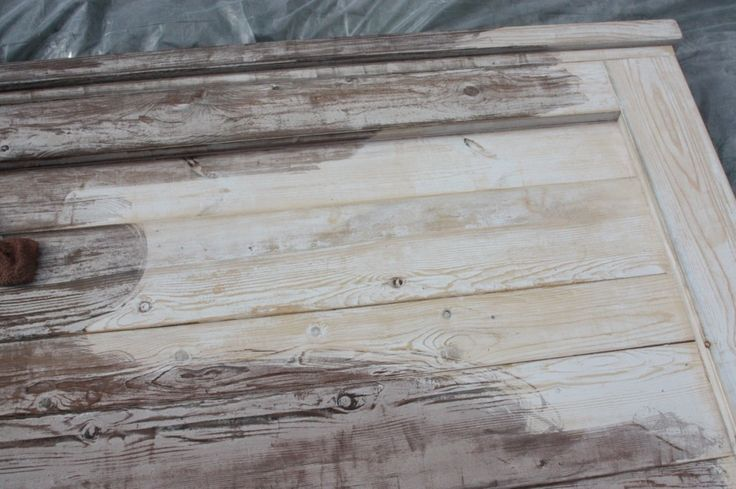 To turn ordinary wood into weathered barnwood: 2 Coats of tea, dry overnight, then paint on the steel wool and vinegar solution Viola :)
