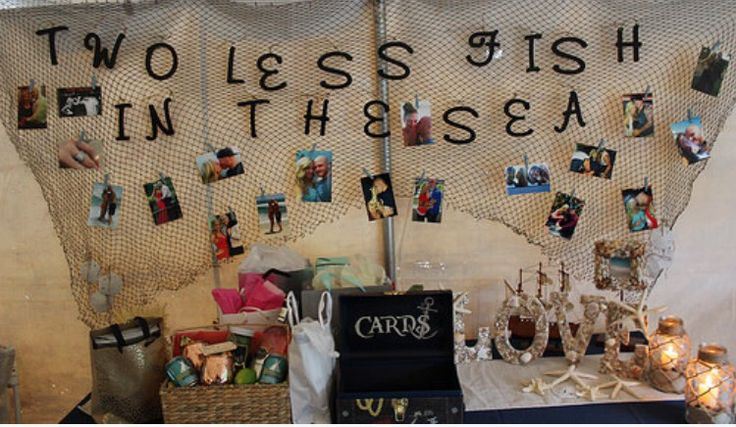Nautical 'Two Less Fish In The Sea' for my engagement party  made by me. Wedding. Gift table. Engagement. Beach. Nautical theme