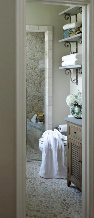 BRADSHAW DESIGNS, San Antonio bath designer, Pebble tile floor and shower, steel shelving, lime wash cabinet, Photographer-Jennifer Siu-Rivera